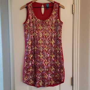 Buttons sequin red dress